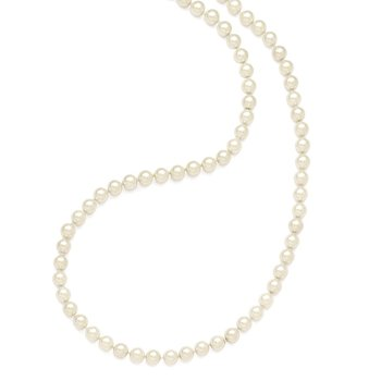 Majestik 10-11mm Wht Imitation Shell Pearl Hand Knotted Slip On Necklace
