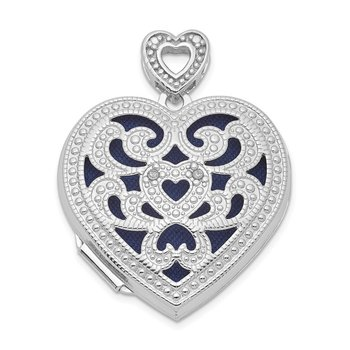 Sterling Silver Rhodium-plated 24mm w/ Diamond Vintage Heart Locket