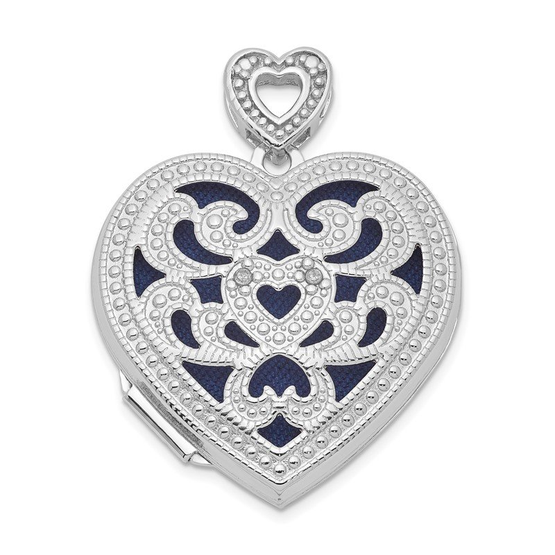 Quality Gold Sterling Silver Rhodium-plated 24mm w/ Diamond Vintage Heart Locket