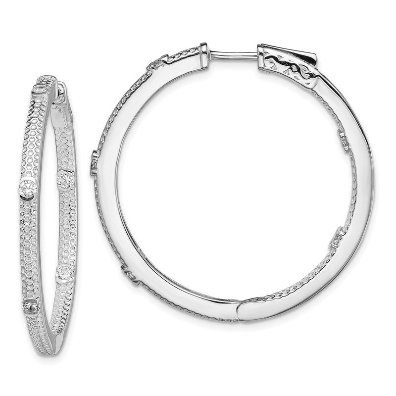 Quality Gold Sterling Silver Rhod-plated CZ In/Out Round Hinged Hoop Earrings