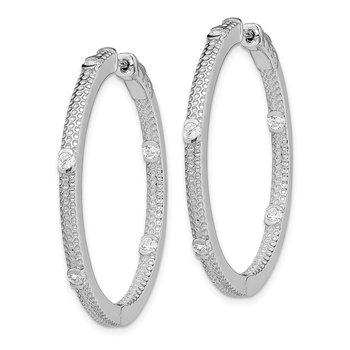 Sterling Silver Rhod-plated CZ In/Out Round Hinged Hoop Earrings