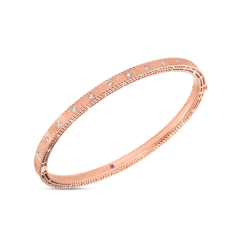 Roberto Coin  #28459 Of 18Kt Gold Princess Bangle With Diamonds