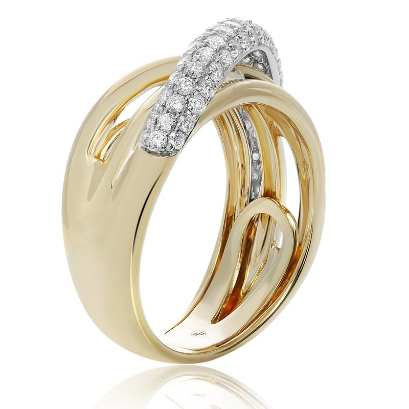 Roman & Jules Yellow Gold Overlapping Diamond Ring