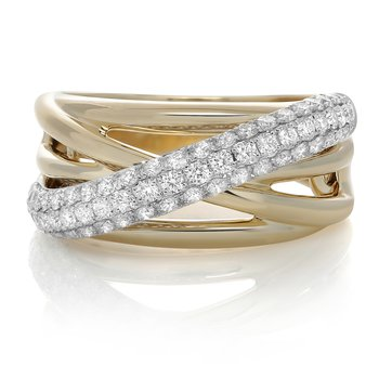 Yellow Gold Overlapping Diamond Ring