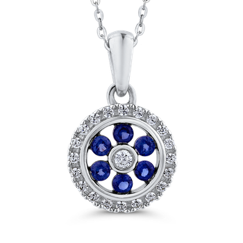 Round .14 ct Diamond & .12 ct Blue Sapphire Fashion Pendant with Chain