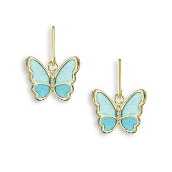 Turquoise Butterfly Wire Earrings.18K -Diamonds