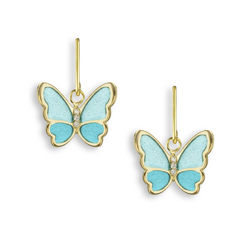 Nicole Barr Designs Turquoise Butterfly Wire Earrings.18K -Diamonds