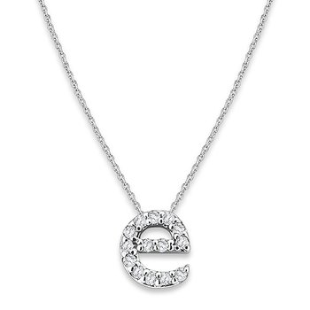 "Diamond Baby Typewriter Initial ""E"" Necklace in 14k White Gold with 14 Diamonds weighing .08ct tw."