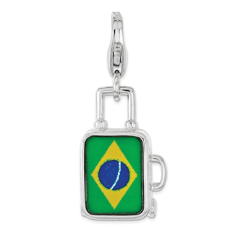 Quality Gold Sterling Silver Enameled Brazilian Flag Suitcase Lobster Clasp Charm