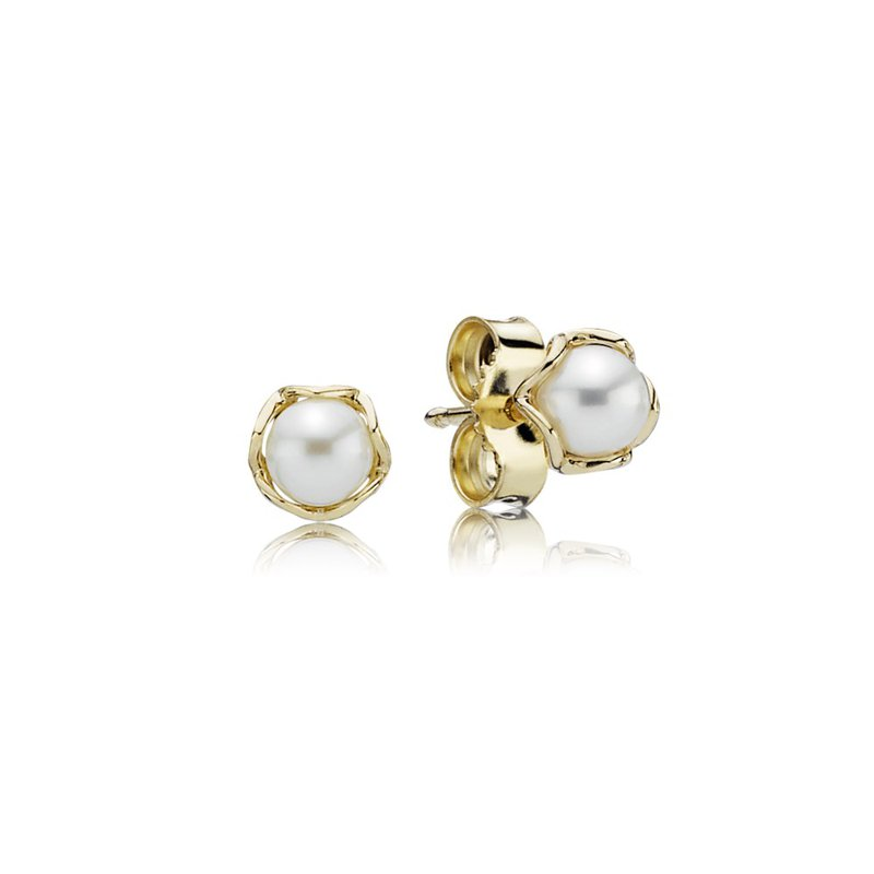 PANDORA Cultured Elegance Stud Earrings, Pearl 14K Gold