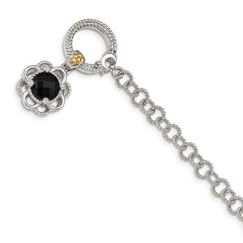 Sterling Silver w/ 14K Accent Onyx & Diamond 7.5in Toggle Bracelet