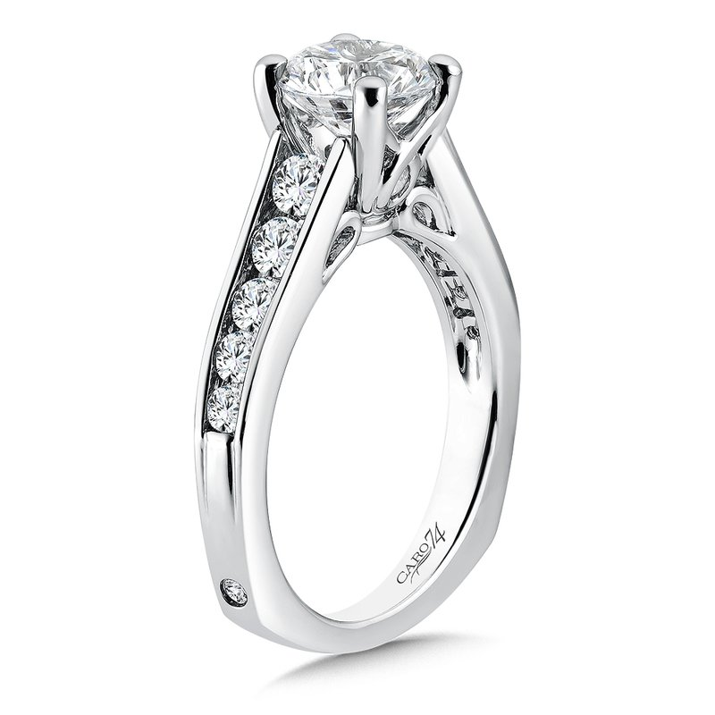 Caro74 Engagement Ring With Side Stones in 14K White Gold with Platinum Head (1-1/2ct. tw.)