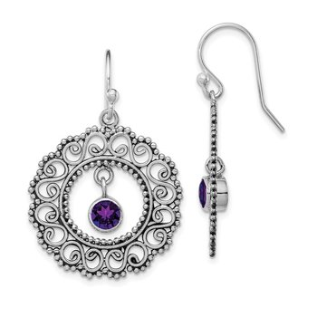 Sterling Silver Rhodium-plated Antiqued Filigree Amethyst Dangle Earrings