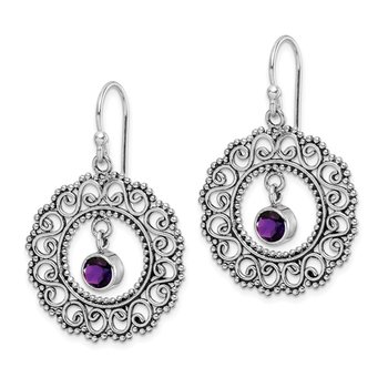 Sterling Silver Rhodium-plated Antiqued Amethyst Shepherd Hook Earrings
