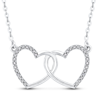 0.13 ct White Diamond Double Heart Pendant with Chain