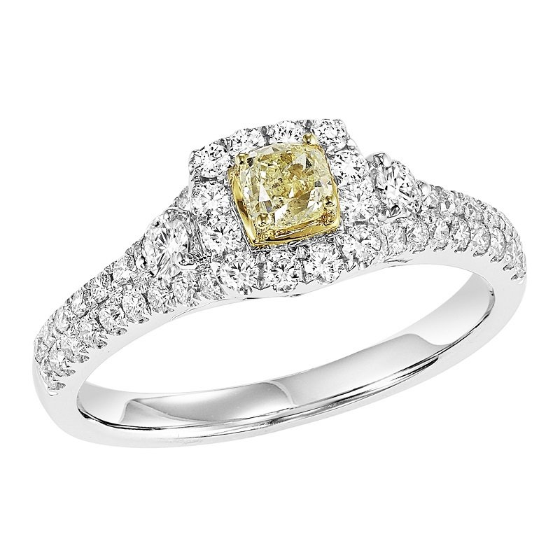 Bridal Bells 14K Diamond Engagement Ring 1 ctw With 1/3 Yellow Diamond Center