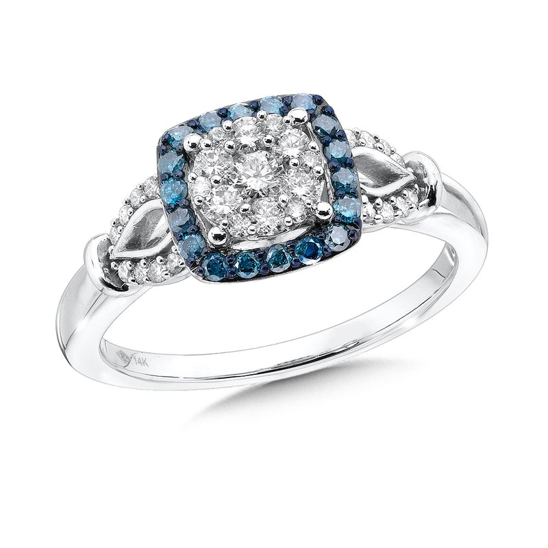SDC Creations Pave set Blue, Cognac and White Diamond Ring, 14k White Gold  (1/2 ct. tw.)