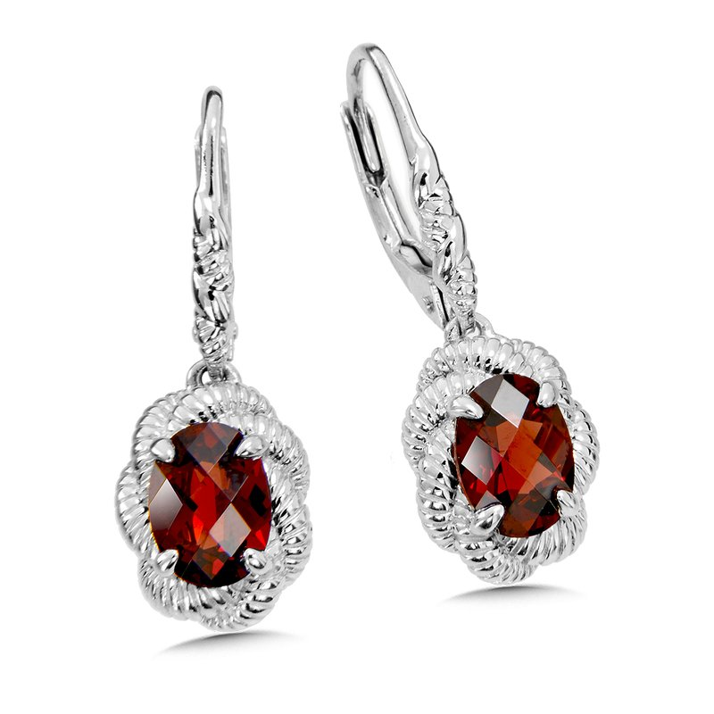 Sterling Silver Garnet Leverback Earrings