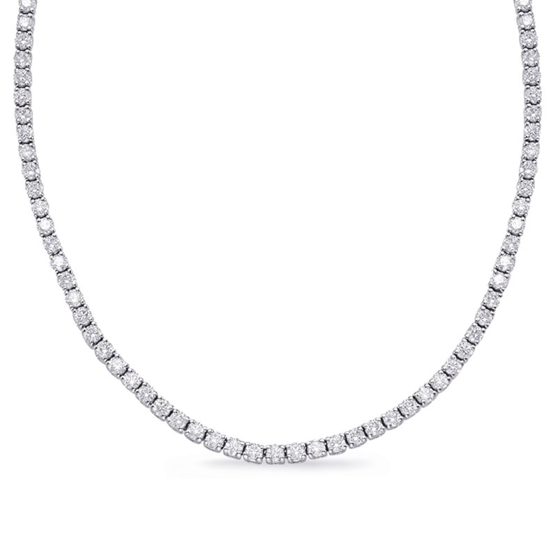 S. Kashi  & Sons White Gold Four Prong Necklace