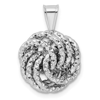 Sterling Silver Rhodium-plated Textured Love Knot Pendant