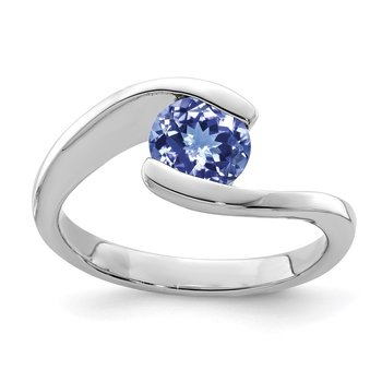 Sterling Silver Rhodium Round Tanzanite Bypass Ring
