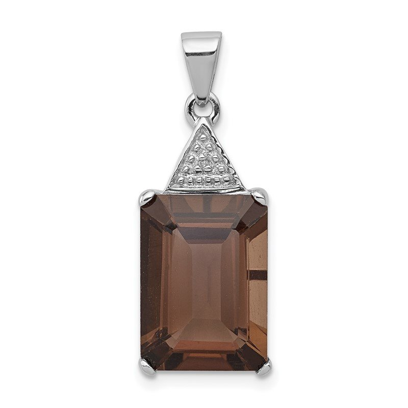 Quality Gold Sterling Silver Rhodium Emerald-cut Smoky Quartz & Diamond Pendant