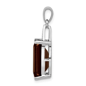 Sterling Silver Rhodium Emerald-cut Smoky Quartz & Diamond Pendant