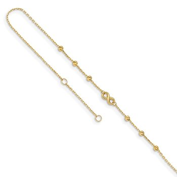 14K Infinity Symbol 10in Plus 1in ext. Anklet