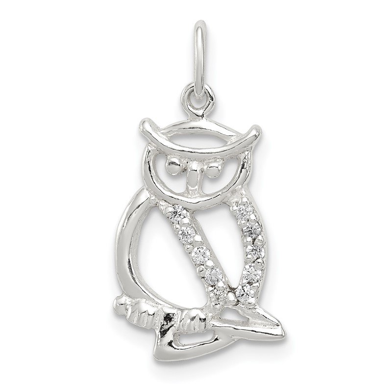 Quality Gold Sterling Siler Polished CZ Owl Pendant