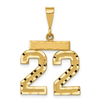 14k Medium Diamond-cut Number 22 Charm