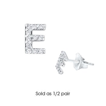 "Diamond Single Initial ""E"" Stud Earring (1/2 pair)"