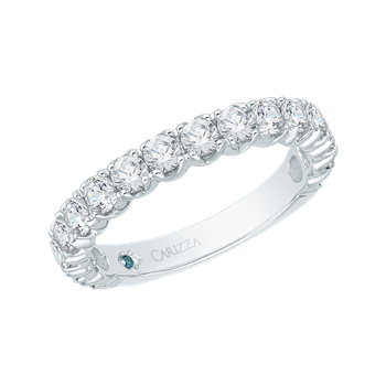 14K White Gold Round Diamond Euro Shank Wedding Band