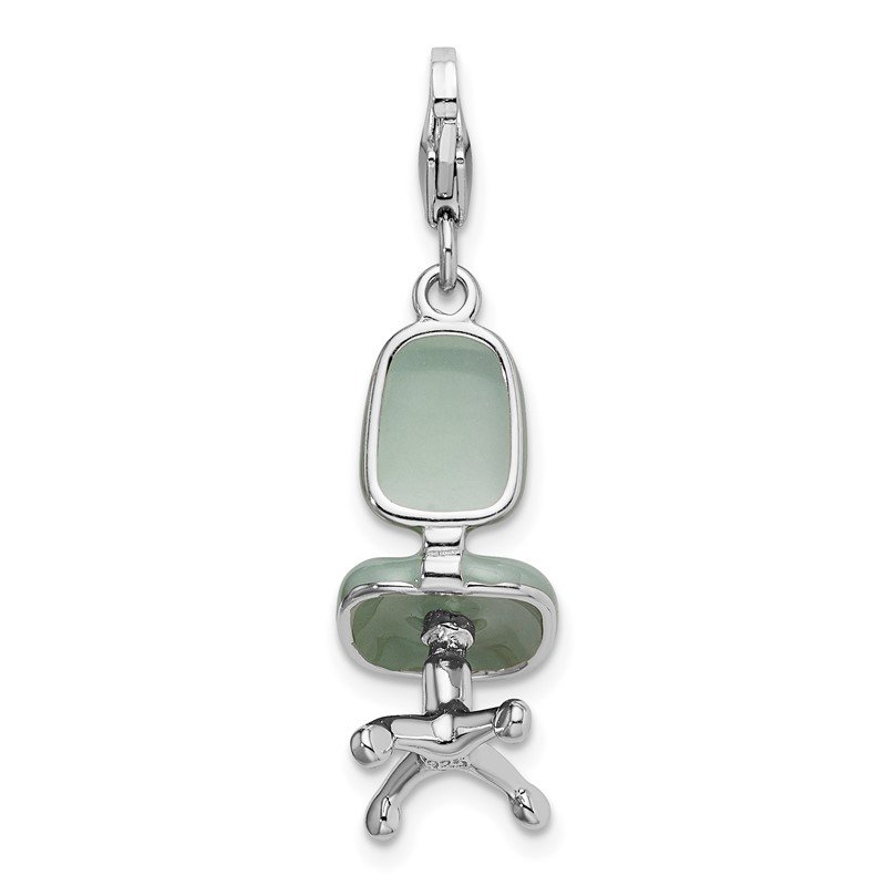 Quality Gold Sterling Silver Rhodium 3-D Enameled Office Chair w/Lobster Clasp Charm