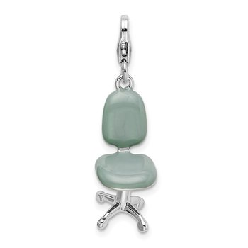 Sterling Silver Rhodium 3-D Enameled Office Chair w/Lobster Clasp Charm