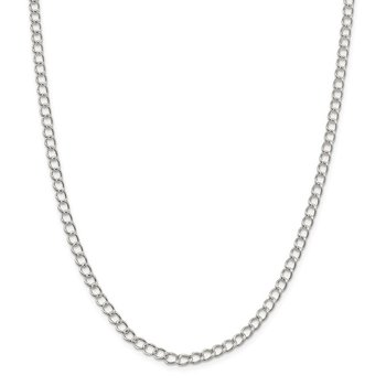 Sterling Silver 4.5mm Half round Wire Open Curb Chain