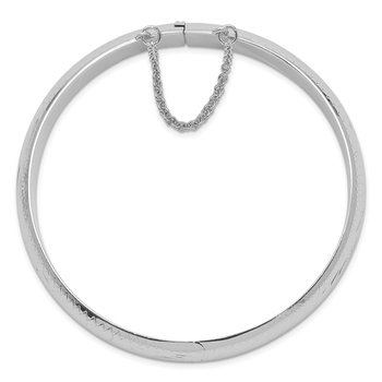 Sterling Silver Rhodium-plated 12mm Fancy Hinged Bangle Bracelet