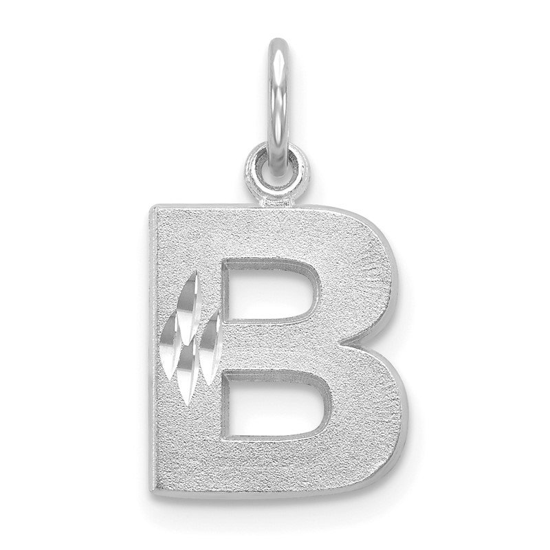 Quality Gold 14KW Satin Diamond-cut Letter B Initial Charm
