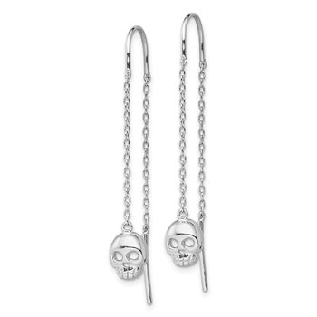Sterling Silver Rhodium-plated Skull Threader Earrings