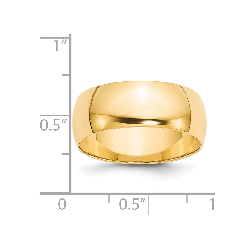 Quality Gold 14KY 8mm LTW Half Round Band Size 10