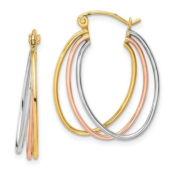 10k Tri-color Polished Triple Hoop Earrings