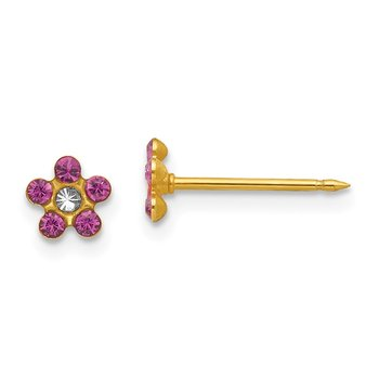 Inverness 14k February Purple Crystal Birthstone Flower Earrings