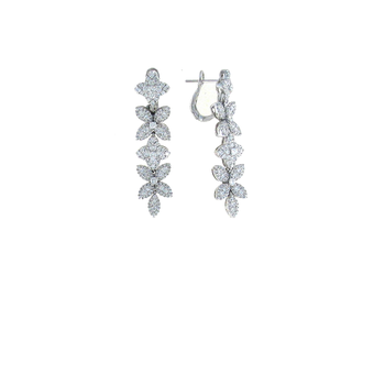 18KT GOLD DIAMOND FLOWER DROP EARRINGS