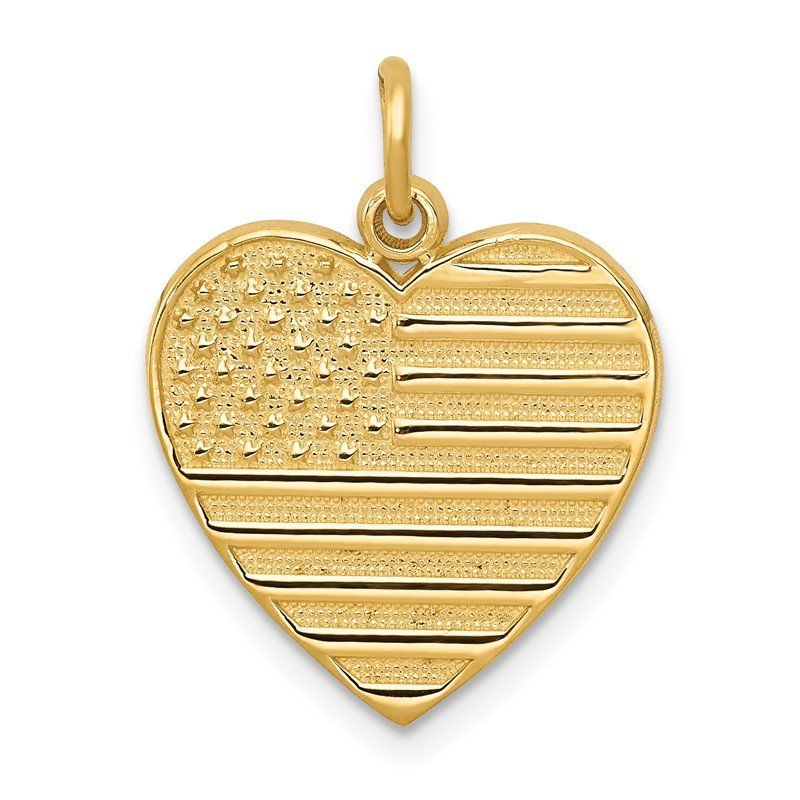 Quality Gold 14k Flag Heart Charm