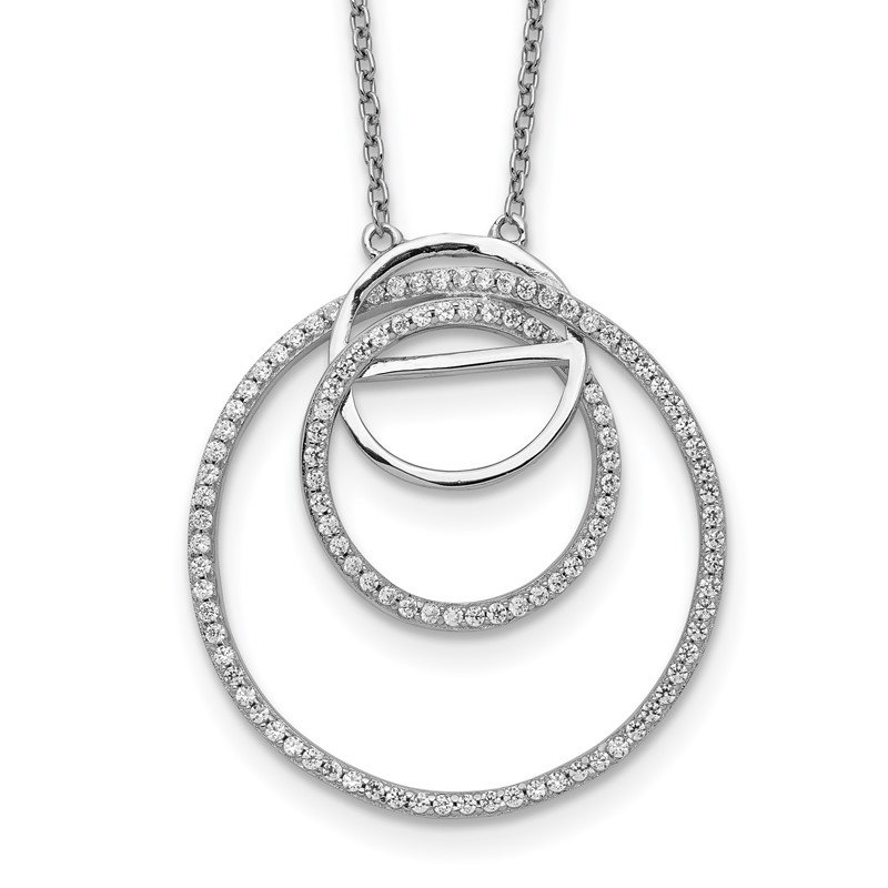 Quality Gold Sterling Silver Rhodium-plated CZ Loop Circles w/2 in. Ext. Necklace