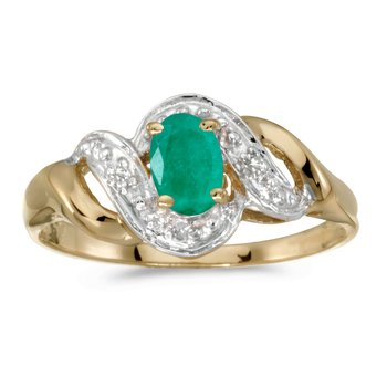 14k Yellow Gold Oval Emerald And Diamond Swirl Ring