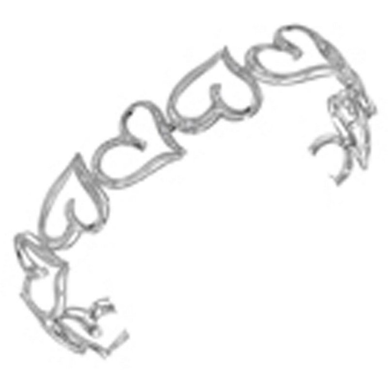 Kingdom Treasures 10kt White Gold Womens Round Diamond Heart Love Bangle Bracelet 1/8 Cttw
