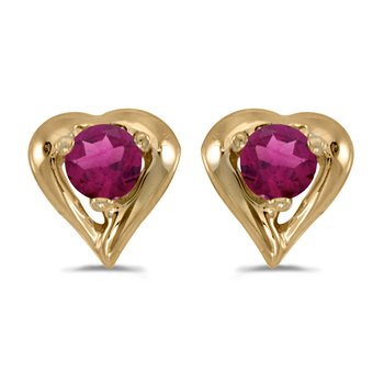 10k Yellow Gold Round Rhodolite Garnet Heart Earrings