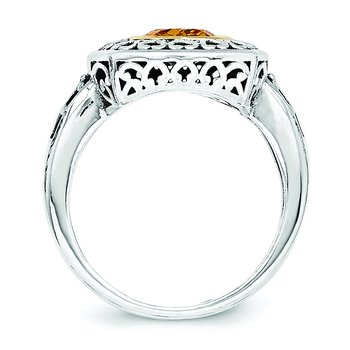 Sterling Silver w/14k Antiqued Citrine Ring