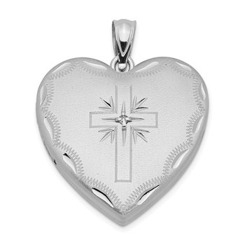 Sterling Silver Rhodium-plated 24mm w/ Dia. Cross Design Family Heart Locke