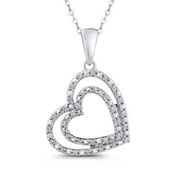 1/4 ct White Diamond Gold Double Heart Pendant